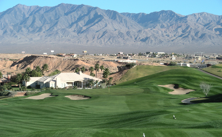 An aerial view of Oasis Golf Club in Mesquite